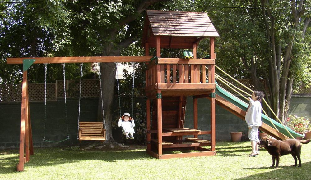 refurbished backyard adventures redwood playset with gang plank rock