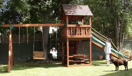 <b>R-9</b>: Refurbished Backyard Adventures Redwood Playset