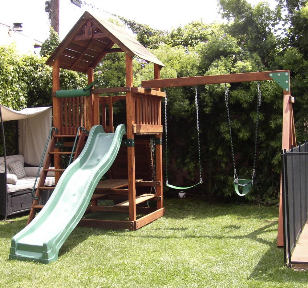 Unique Backyard Play Structures refurbished redwood play sets: swingsetsolutions