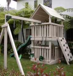<b>P-26:</b> Fort 3/4 Bottom Enclosure Rock Wall Wave Slide 2 Position swing System