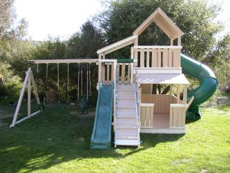 <b>P-53</b>: Fort Sun Deck Turbo Slide Wave Slide Gang Plank 3/4 Bottom Enclosure Porch 3 Position Swing System
