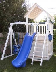 <b>P-19</b>: Fort 3/4 Bottom Enclosure Super Slide 1 Position Swing System 2 N 1 Glider