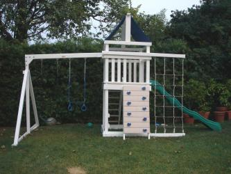<b>P-20</b>: Fort Picnic Table Cargo Net Rock Wall 2 Position Swing System Wave Slide