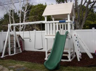 <b>P-30</b>: Fort 3 Position Monkey Bar Swing System Superslide, Rock Wall Picnic Table