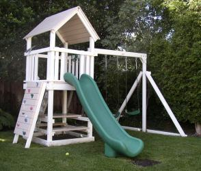 <b>P-25</b>: Fort Picnic Table Super Slide 2 Position Swing System Rock Wall