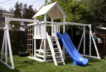 <b>P-40</b>: Fort Picnic Table Super Slide 2 Position Monkey Bar Swing System Tire Beam Cargo Net Rock Wall