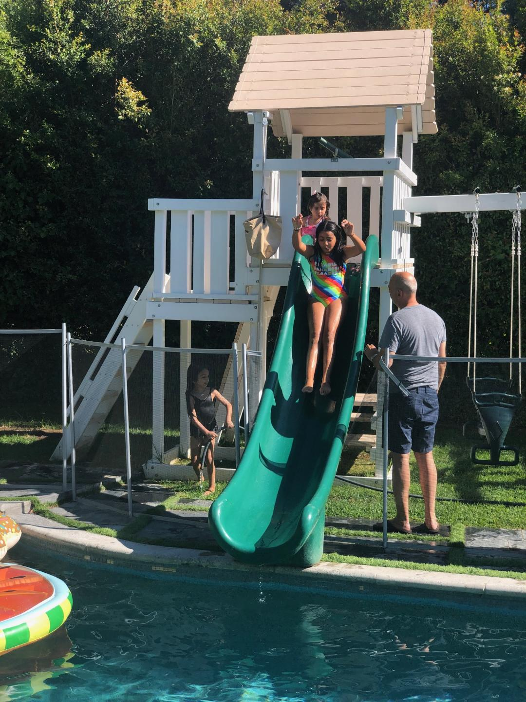 Tower with swimming pool slide