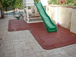 rubber tiles under slide
